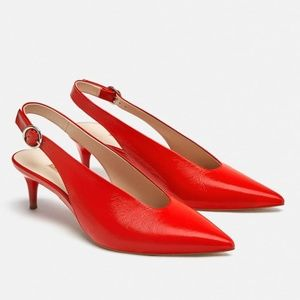 SLINGBACK RED LEATHER HEELS